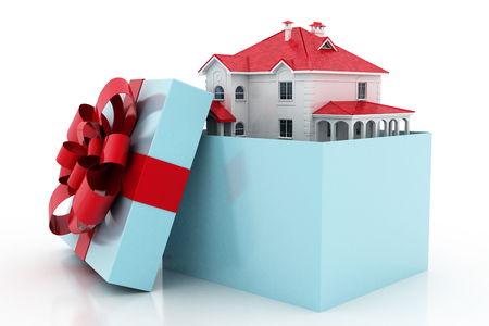 buy house: The house is in a gift box. Ribbon and bow on the box. 3D.