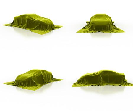 yellow car: yellow car covered cloth