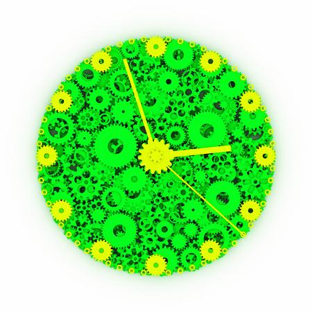 watch gears: Watch of gears. Colored clock. 3D. Stock Photo
