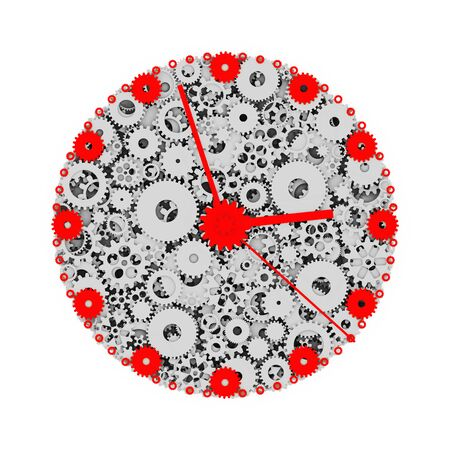 greeen: Watch of gears. Colored clock. 3D. Stock Photo