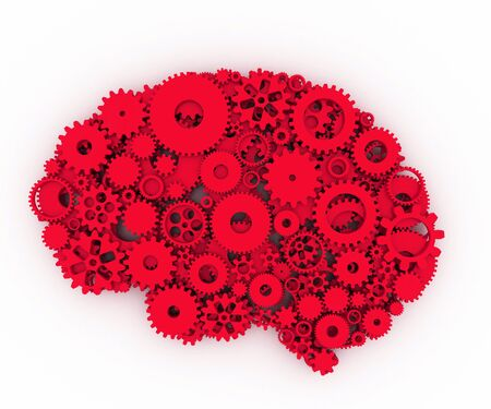 The brain of gears. The red brain. 3D.