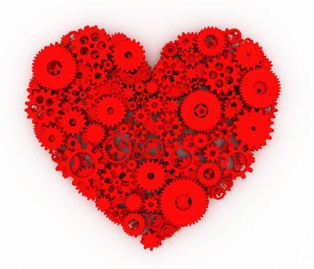 heart 3d: Heart of gears. Red heart. 3D.