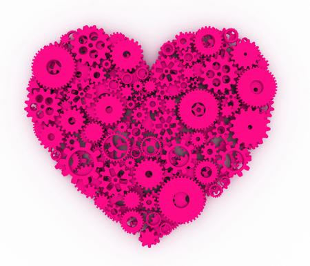 heart 3d: Heart of gears. Pink heart. 3D.