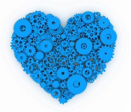 heart 3d: Heart of gears. Blue heart. 3D.
