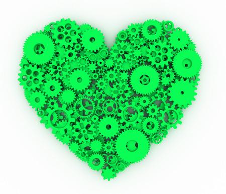 green heart: Heart of gears. Green heart. 3D.
