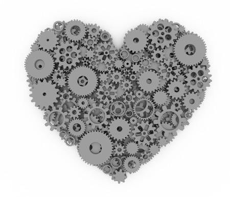 heart 3d: Heart of gears. Gray heart. 3D.
