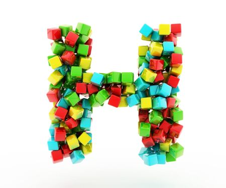 letter blocks: Letters H of colorful cube.