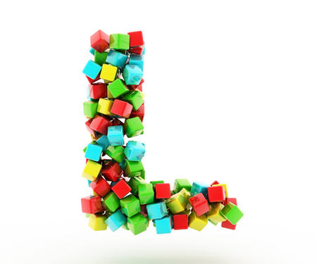 l red: Letters L of colorful cube.