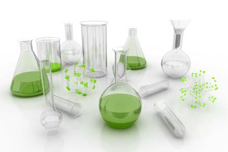 liquids: Laboratory glassware with liquids of green colors