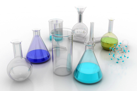 chemistry: The Chemistry Lab. Various glass chemistry lab equipment