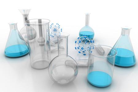 liquids: Laboratory glassware with liquids of blue colors