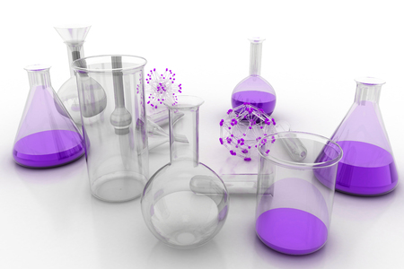 cristaleria: Laboratory glassware with liquids of different colors