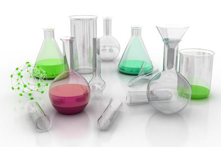 liquids: Laboratory glassware with liquids of different colors