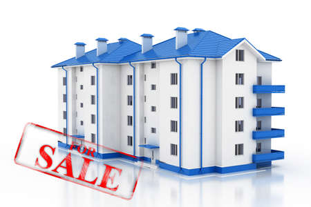 housing prices: Property market. Stamp sale of real estate. 3D.