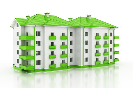 clipart street light: Modern office building illustration isolated on white background.