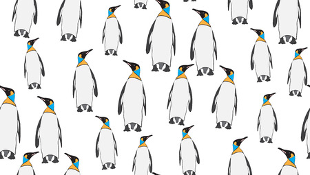 Vector seamless background of penguins. The pattern of the penguins is perfectly located for printing. Illustration