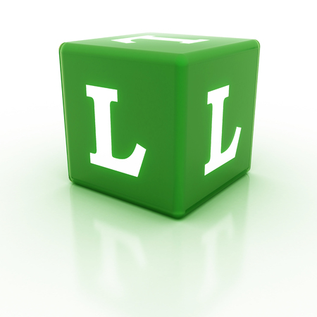 letter blocks: The letter L on the cube. Multicolored alphabet on cubes.