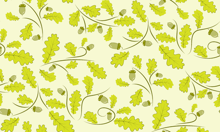 acorn: Vector seamless background of acorns and oak leaves. Seamless pattern of leaves.