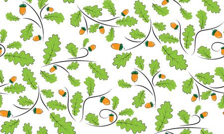 acorns: Vector seamless background of acorns and oak leaves.  Illustration