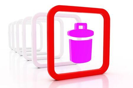 rubbish dump: 3D mark dustbin