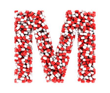 m: The letter M of the medications on a white background.