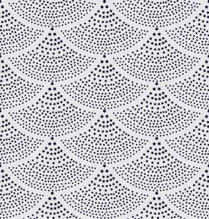 fish with scales: Vector seamless background in the form of fish scales consisting of blue stars. The fountain of the stars on white.