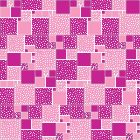 white backing: Vector seamless pattern of squares decorated with circles and squares. Pink backing with white pieces.