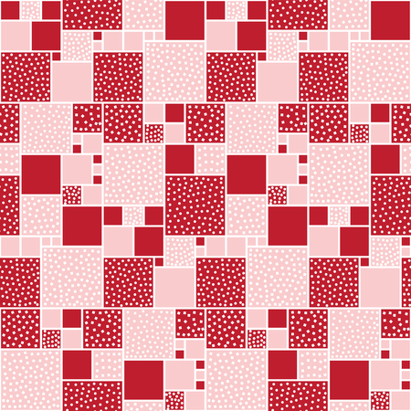 white backing: Vector seamless pattern of squares decorated with circles and squares. Red backing with white pieces.