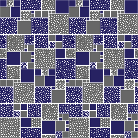 white backing: Vector seamless pattern of squares decorated with circles and squares. Blue abd gray backing with white pieces. Illustration
