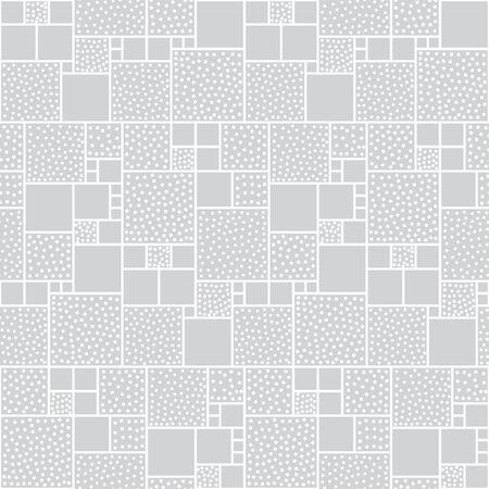 white backing: Vector seamless pattern of squares decorated with circles and squares. Gray backing with white pieces. Illustration