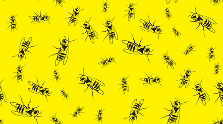 wasps: Vector seamless background of wasps. Chaotic wasps. Illustration