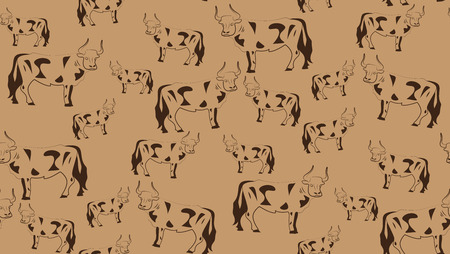 ungulate: Vector seamless background of bulls. Chaotic cow on a brown background.