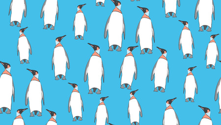 perfectly: Vector seamless background of penguins. The pattern of the penguins is perfectly located for printing. Illustration