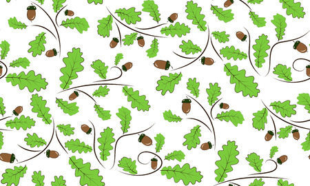 acorn: Vector seamless background of acorns and oak leaves. Beautifully situated pattern of acorns and leaves.