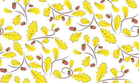 beautifully: Vector seamless background of acorns and oak leaves. Beautifully situated pattern of acorns and leaves.