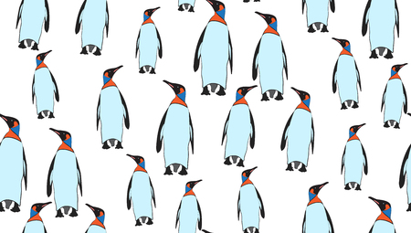 pinguin: Vector seamless background of penguins. Chaotic penguin on a white background. eps 10