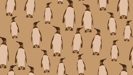 pinguin: Vector seamless background of penguins. Chaotic penguin on a brown background. eps 10 Illustration