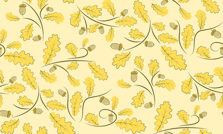 beautifully: Vector seamless background of acorns and oak leaves. Beautifully situated pattern of acorns and leaves. 10 eps.