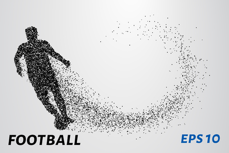 Silhouette of a football player from the particles. The array of points is athlete 矢量图像