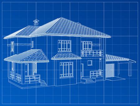 3D render van een gebouw vector. De contouren van huizen op een blauwe tekening. EPS 10
