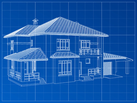 3D render of a building vector. The contours of houses on a blue drawing. EPS 10