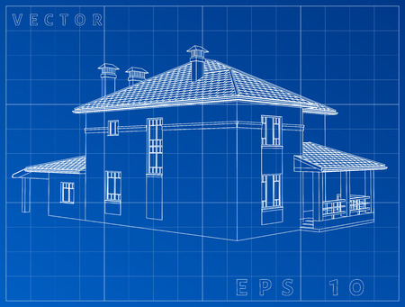 Architectural background with a 3D building model. Vector clip-art. EPS 10