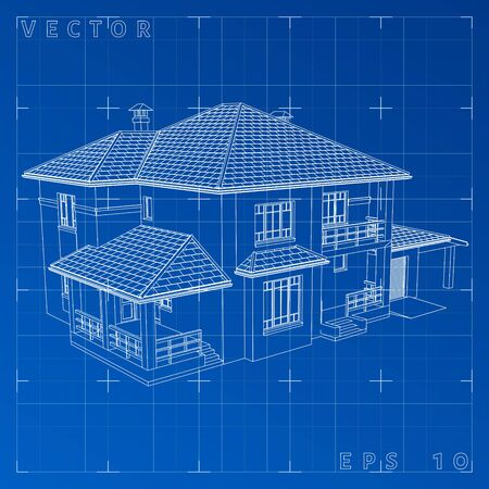 housing project: The drawing of the house on blue background. Vector eps 10 Illustration