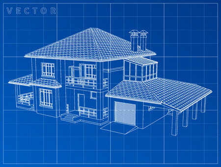 Wireframe blueprint drawing of 3D house - Vector illustration. eps 10