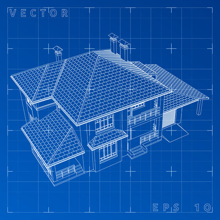 Abstract 3D render of building wireframe - Vector illustration. eps 10