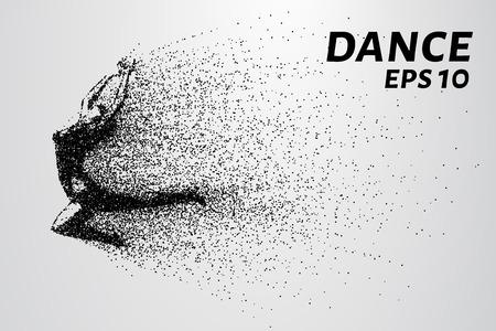 Danse des particules. Fille qui danse dans les sauts. Un danseur effectue éléments acrobatiques.