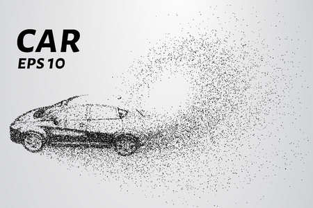 disappear: Car from the particles. The vehicle consists of small circles.
