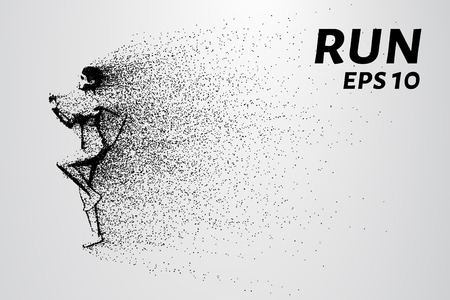 run out: Run out of particles. The girl runs and the wind blows a piece of her. Illustration