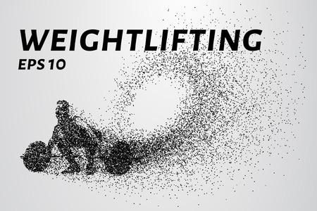 levantar pesas: El levantador de pesas de las partículas. El levantador de pesas que se prepara para levantar pesas. Vectores