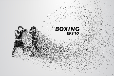 boxing match: The Boxing of the particles. A Boxing match consists of small circles. The attacking boxers.